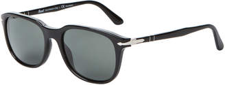 Persol PO3191S Black & Silver-Tone Oval Polarized Sunglasses