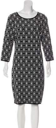 Carmen Marc Valvo Long Sleeve Midi Dress