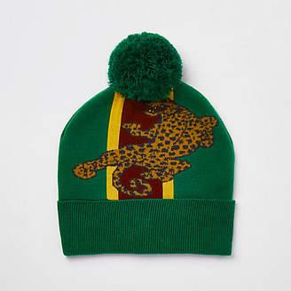 River Island Green leopard print bobble beanie hat
