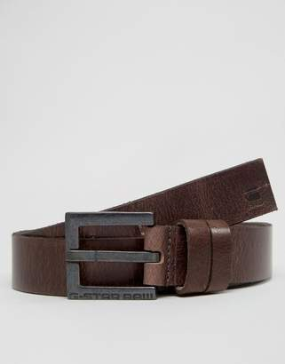 G Star G-Star Duko Leather Belt In Brown
