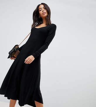 Asos Tall DESIGN Tall scoop neck rib midi dress with asymmetric skirt
