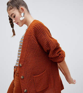 Monki chunky cardigan in brown tortoise