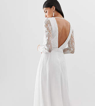 Amelia Rose Tall embroidered long sleeve midi dress with plunge back detail in white