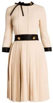 Prada Women's Silk Sable Pleated Skirt Dress - Beige Black - Size 38 (2)