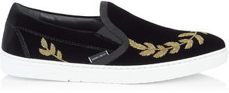 Jimmy Choo GROVE Black Velvet Slip On Trainers with Gold Feather Embroidery