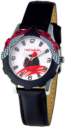 RED BALLOON Red Balloon Boys' Black Racing Leather Strap Watch