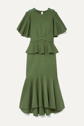 Johanna Ortiz Follow The Drums Ruffled Embellished Cotton-blend Midi Dress - Army green