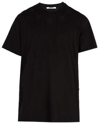 Givenchy Star Embroidered Long Line T Shirt - Mens - Black