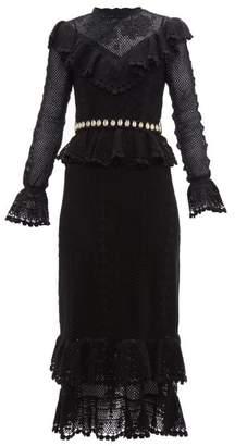 Zimmermann Allia Shell Belt Cotton Crochet Midi Dress - Womens - Black