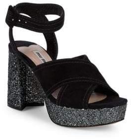 "Miu Miu Glitter Criss-Cross Suede Platform Sandals/3.5"""