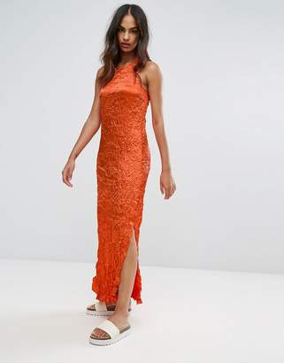 Warehouse Premium Crinkle Fabric Twist Back Maxi Dress