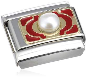 """Nomination Composable Women """"s Bead Classic Pearl Steel-Enamel - 18–Carat Gold / Red Flowers 030512 / 09)"""