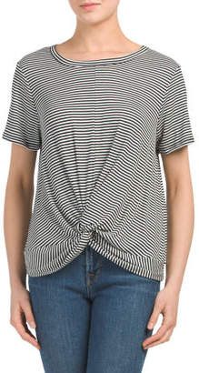 Juniors Made In USA Striped Short Sleeve Top