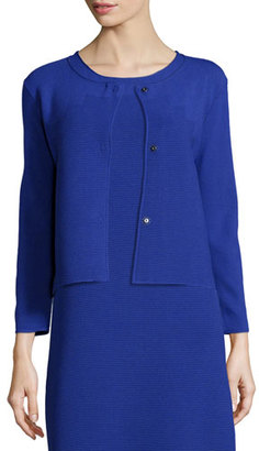 Armani Collezioni Round-Neck Pyramid-Knit Jacket, Purple $1,095 thestylecure.com