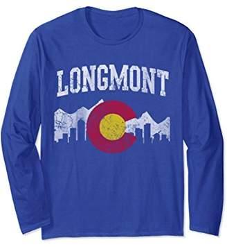 Longmont Colorado Flag Skyline Long Sleeve Shirt