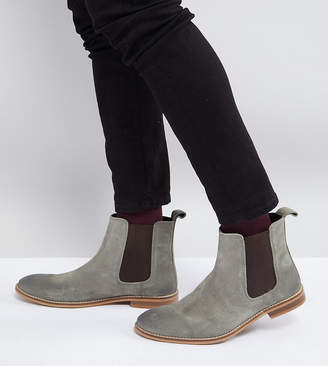Asos Design Wide Fit Chelsea Boots in Grey Suede