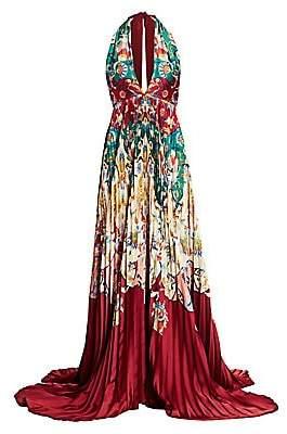 Oscar de la Renta Women's Printed Deep V-Neck Halter Gown
