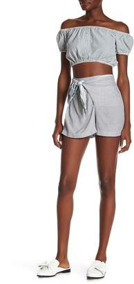 Angie Mixed Striped Front Tie Shorts
