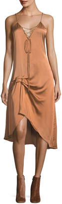 Haute Hippie Hampton Lace-Front Satin Slip Midi Dress