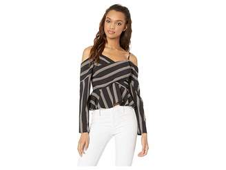 J.o.a. Striped Cold Shoulder Crisscross Top