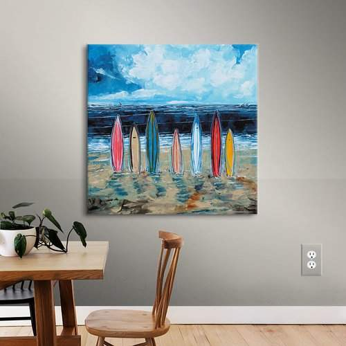 Breakwater Bay Surf Boards Painting Print on Wrapped Canvas