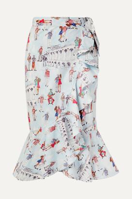 PatBO Ruffled Printed Cotton-blend Poplin Wrap Skirt - Light blue