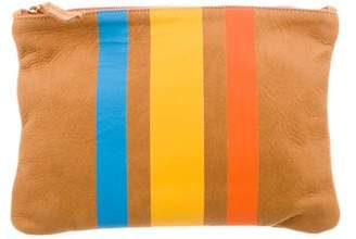 Clare Vivier Striped Leather Clutch