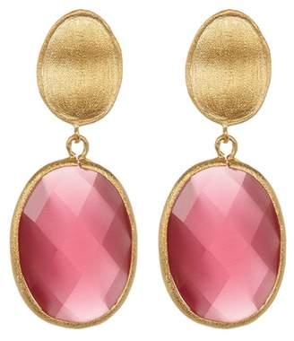 Rivka Friedman Faceted Raspberry Cat's Eye Crystal Oval Drop Earrings