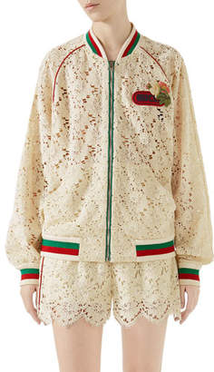 Gucci Leaf-Brocade Lace Zip-Front Bomber Jacket with Embroidered Patch