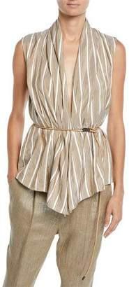 Brunello Cucinelli Sleeveless Striped Silk Wrap Top w/ Leather Belt