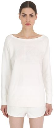 Raw Cut Collar Cotton Jersey Sweatshirt $139 thestylecure.com