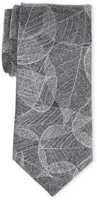 Calvin Klein Silver Silk-Blend Leaf Tie