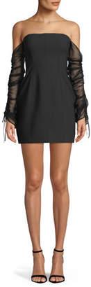 Cinq à Sept Anastasia Off-the-Shoulder Long-Sleeve Mini Cocktail Dress
