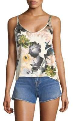 7 For All Mankind Floral Satin Scoop Neck Tank