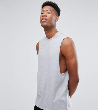 Asos DESIGN Tall relaxed tank with dropped armhole in gray