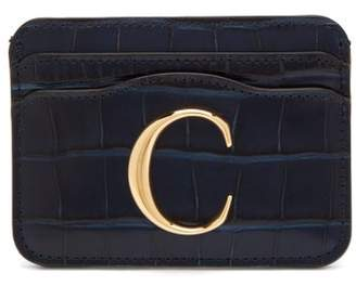 Chloé The C Logo Crocodile Embossed Leather Cardholder - Womens - Navy