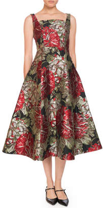 Erdem Polly Square-Neck Sleeveless Fit-and-Flare Floral-Jacquard Tea-Length Cocktail Dress