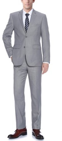 Verno Bellomi Big Men's Light Grey Classic Fit Italian Styled Two Piece Suit