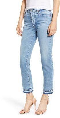 AG Jeans Isabelle High Waist Hem Detail Ankle Straight Leg Jeans