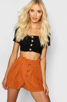boohoo Horn Button Front Paper Bag Waist Shorts