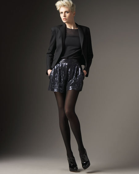 Theory Sequined Silk Shorts