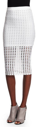 T by Alexander Wang Eyelet Jacquard Pencil Skirt, White $195 thestylecure.com