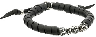 King Baby Studio - Thin Natural Wrap Black Leather Bracelet with Stingray Beads Bracelet $325 thestylecure.com