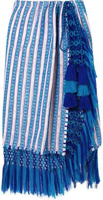 Jaline - Nieves Tasseled Cotton-gauze Pareo - Blue