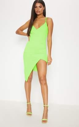 PrettyLittleThing Neon Green Wrap Front Crepe Midi Dress
