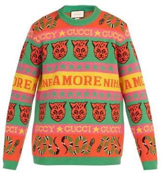 Gucci Tiger And Snake Intarsia Wool Sweater - Mens - Orange Multi