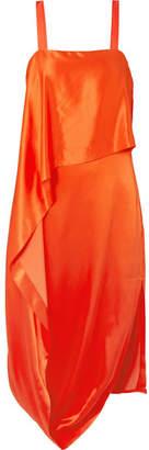 Temperley London Darling Draped Silk-blend Satin Midi Dress - Orange