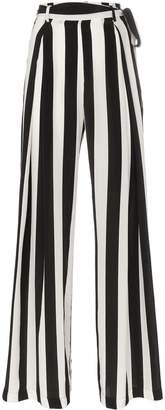 Leone We Are tie waist striped silk trousers