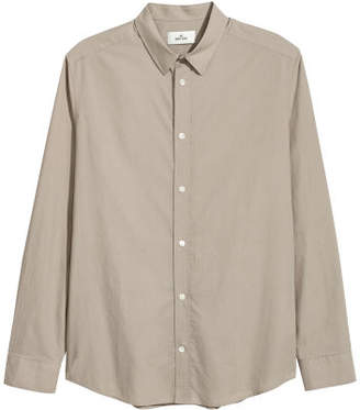 H&M Cotton Poplin Shirt - Brown