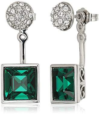 Swarovski Platinum-Plated Crystal Crystal Princess in 2-Way Earrings Jacket